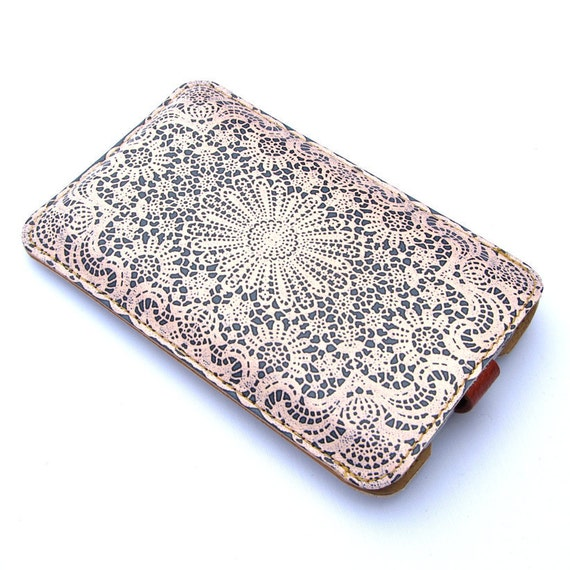 Leather iPhone 4 case & iPhone 4S Case - Pebble Grey and white lace