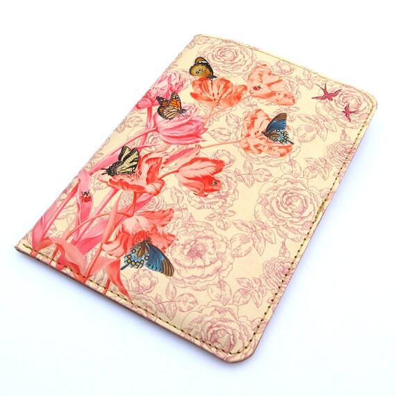 Leather passport case - Springtime design