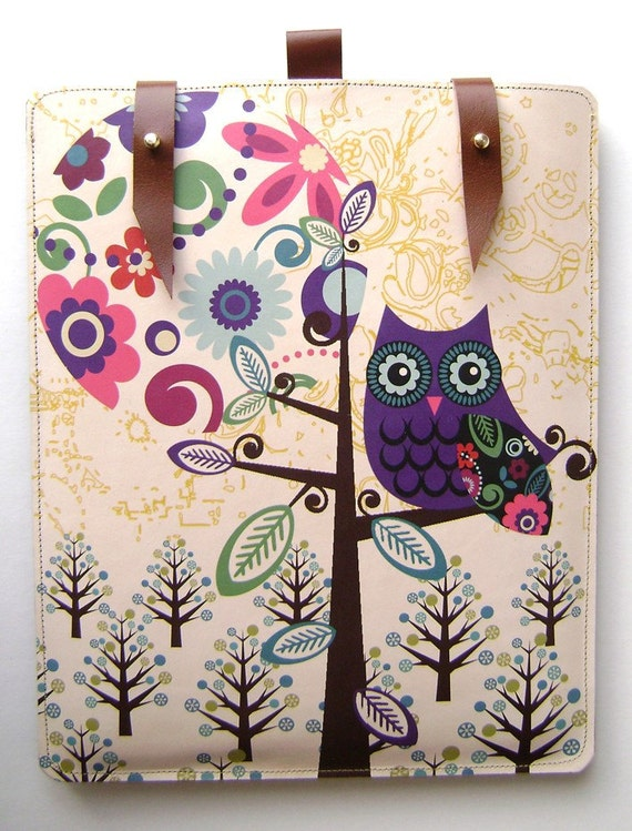 Leather iPad case - Owl and Moon design