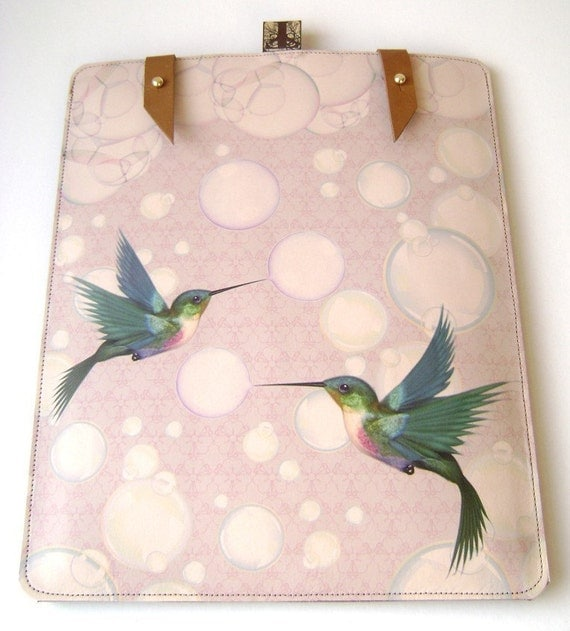 Handmade Leather iPad case- Hummingbirds and bubbles design