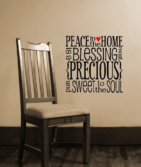 Peace In The Home blockart vinyl wall decal