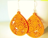 Zesty Lady. Bright wooden teardrop filigree dangles in Orange soda