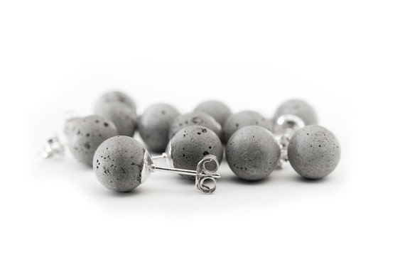 Cement Pearls 8mm Earrings