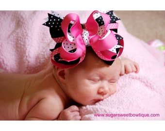 Hot Pink and Black Layered Boutique Headband - Over the Top Hair Bow - Pagents - Photography Prop