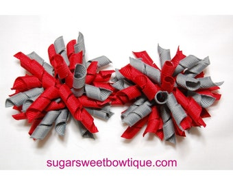 Ohio State Buckeyes Scarlet and Gray Boutique Korker Hair Bows Set of 2