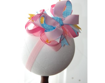 Fairytail Princess Layered Boutique Baby Toddler Headband Hair Bow