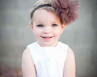 Brown Tutu Puff Tulle Boutique Headband - Photography Prop - Pagents - U CHOOSE HEADBAND COLOR