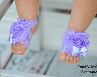 Lavender Shabby Barefoot Sandals and Matching Headband Set - Photography Prop - Newborn Photos