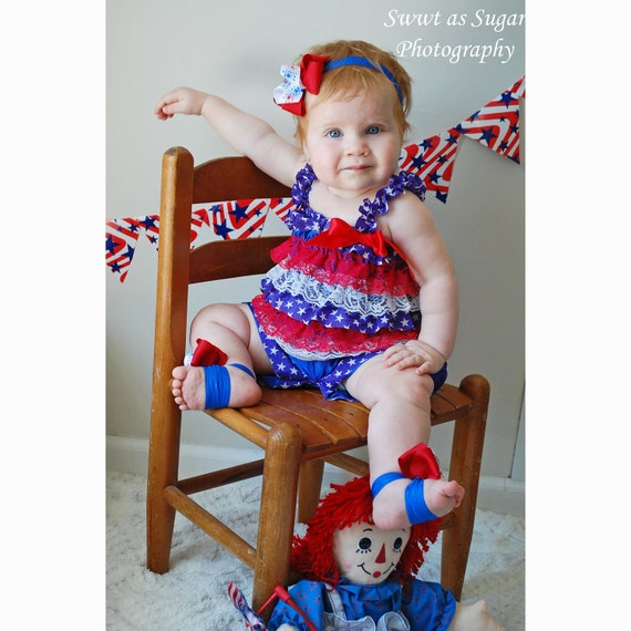 Patriotic Red, White, and Blue Lace and Satin Petti Romper  - Photography Prop - Newborn Photos