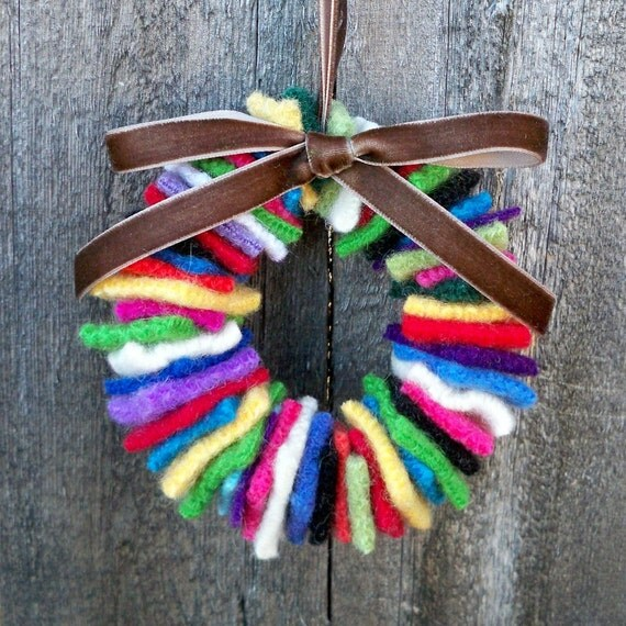 Rescued Wool Wreath Ornament - Multi with Bark Brown Velvet Ribbon - recycled  wool wreath by alicia todd