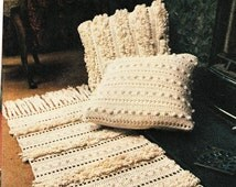 Vintage crochet pattern textured cushions and runner