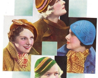 Vintage knitting and crochet pattern-4 hats from the 1930s pdf