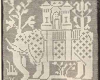 Vintage crochet pattern Elephant square for bedspread pdf