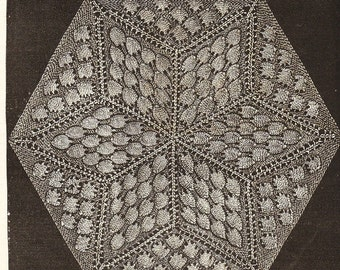 Vintage knitting- star pattern hexagon for quilt making or bedspread etc pdf email delivery