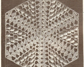 vintage crochet pattern for hexagon shape to make into quilts, afgans, throws ,pillows etc pdf INSTANT DOWNLOAD