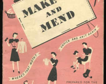INSTANT DOWNLOAD-Make do and Mend vintage 1940s recycle,upcycle clothing wartime booklet-pdf email delivery