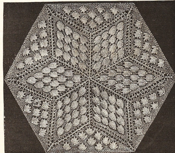 Vintage knitting star pattern hexagon for quilt making or