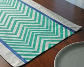 Block Printed Recycled Hemp Chopped Runner in Chevron in Turquoise and Navy