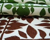 Block Printed Fabric Swatches- Leafweave in Grass and Chocolate
