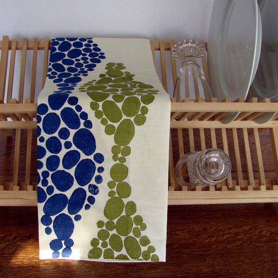 Block Printed Hemp Soy Kitchen Towel in Olive and Navy