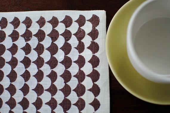 Block Printed Hemp Chopped Runner in Chocolate