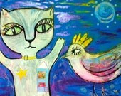 Cat Tells Bird About His Home -Original Painting by Kerry Lane