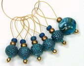 Textured Teal Beaded Knitting Stitch Markers