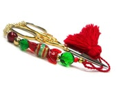 Scissor Fob  Beaded Christmas Candy 4 Quilting Sewing Needlepoint Cross Stitch