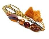 Scissor Fob, Beaded, Amber, Copper, Golden Brown