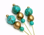 Beaded Counting Pins, Marking Pins, Needlepoint, DIY Crafts, Turquoise, Magnesite, GIft, TJBdesigns