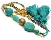 Scissor Fob Cross Stitch Needlepoint Quilting Turquoise