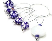 Knitting Stitch Markers Beaded Purple and White