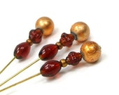 Amber Copper Topaz Needlepoint  Counting Pins Marking Pins