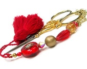 Beaded Scissor Fob, Quilting, Sewing, Cross Stitch, Gift for Crafter, True Love, Red, Gold, DIY Crafts, TJBdesigns