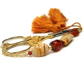 Beaded Scissor Fob, Quilting, Sewing, Cross Stitch, Handmade, Butterscotch Swirl, Brown, Orange