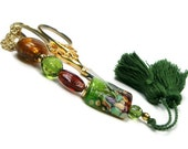 Scissor Fob Beaded Amber Forest Green Sewing Quilting Needlepoint Cross Stitch