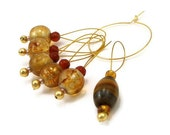 Knitting Stitch Markers Beaded Golden Amber Tigers Eye Knitting tools, Knitting Accessory