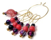 Stitch Markers Knitting Confetti Beaded Peach Purple Knitting Tool Knitting Accessory