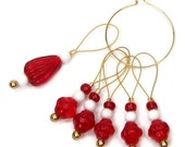 Knitting Stitch Markers Beaded Red and White