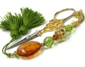 Beaded Scissor Fob Olive, Amber, DIYCrafts, Needlepoint, Cross Stitch, Sewing, Hardanger, Quilting