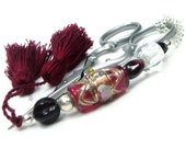 Scissor Fob Beaded Garnet Sewing Cross Stitch Quilting Needlepoint