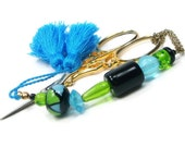 Aqua Lime Black Beaded Scissor Fob Minder Keeper