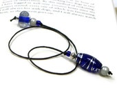 Book Thong, Beaded Bookmark, Book Cord, Book String, Gift for Book Club, Blue, Silver, TJBdesigns