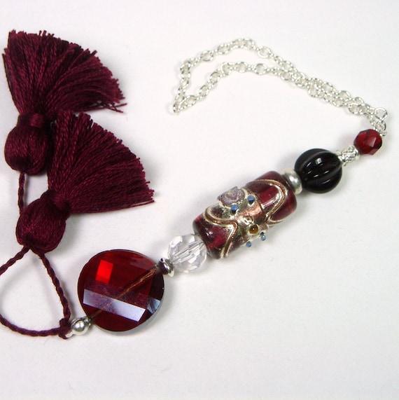 Garnet Beaded Scissor Fob