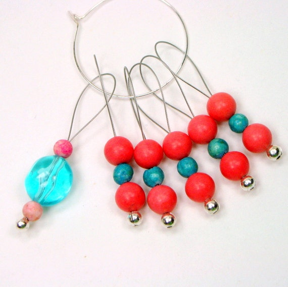 Beaded Coral and Aqua Knitting Stitch Markers
