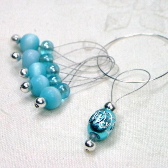 Knitting Stitch Markers Beaded Aqua