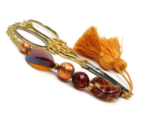 Scissor Fob, Beaded, Amber, Copper, Golden Brown