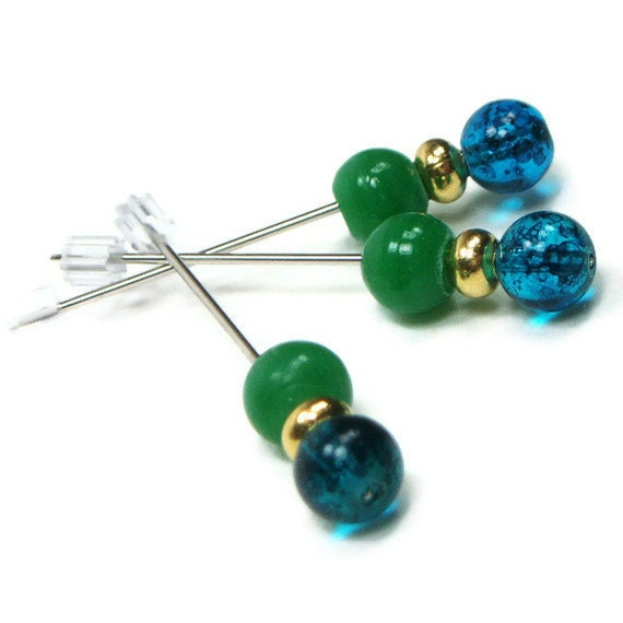 Counting Pins Marking Pins Blue Green Hardanger Cross Stitch