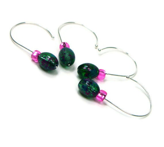 Snag Free Crochet Stitch Markers Set, Removable, Beaded, DIY Crafts, Emerald Green, Hot Pink, Gift, TJBdesigns