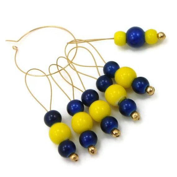 Beaded Stitch Markers Knitting Navy Yellow